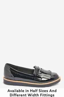 Black Patent Standard Fit (F) Tassel Loafers