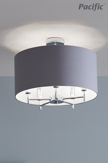 Plaza Silver Silver Metal And Grey Linen Pendant by Pacific