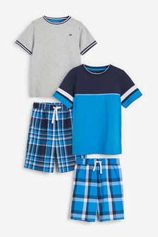Blue/Grey 2 Pack Check Short Pyjamas (3-16yrs)