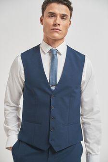 Bright Blue Wool Mix Textured Suit: Waistcoat