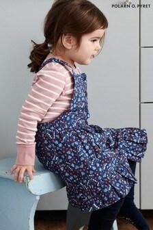 Polarn O. Pyret Blue Organic Cotton Floral Pinafore Dress