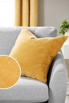Honey Yellow Soft Velour Large Square Cushion