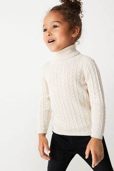 Oatmeal Cable Roll Neck Jumper (3mths-7yrs)