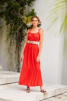Red Tie Shoulder Maxi Dress