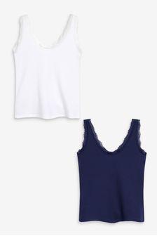 Navy/White Rib Lace Trim Vests 2 Pack