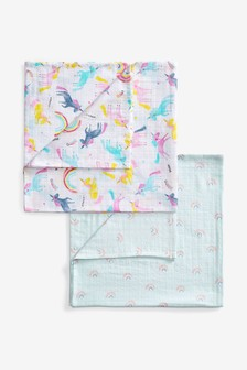 Pink 2 Pack Unicorn And Rainbow Muslin Squares