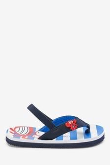 Navy Crab Flip Flops (Younger)