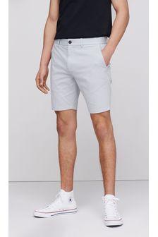 Light Grey Skinny Fit Stretch Chino Shorts
