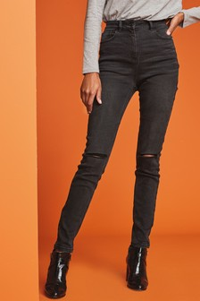 Washed Black Ripped High Rise Skinny Jeans