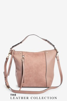 Mink Zip Detail Leather Slouchy Hobo Bag