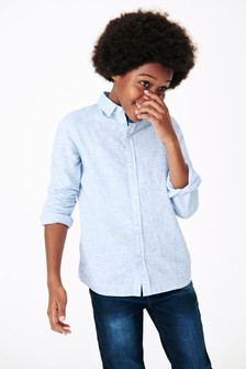 Blue Long Sleeve Linen Mix Shirt (3-16yrs)