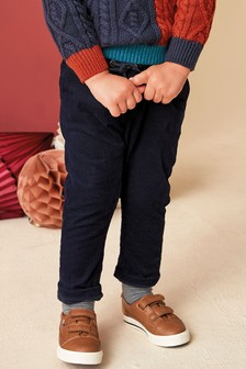 Navy Pull-On Cord Trousers (3mths-7yrs)