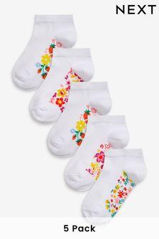 White Floral 5 Pack Footbed Trainer Socks