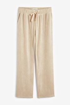 Cream Textured Jersey Wide Leg Trousers
