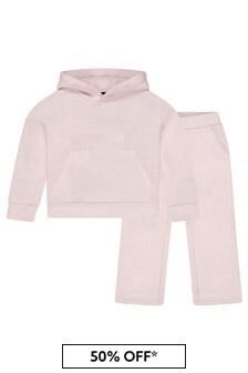 Girls Pink Logo Tracksuit