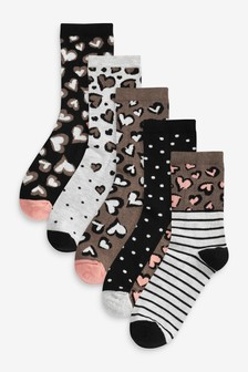 Animal/Monochrome Stripe And Spot Ankle Socks Five Pack