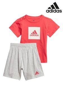 adidas Infant Pink/Grey T-Shirt And Short Set