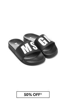 MSGM Unisex Black Sliders