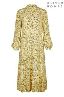 Oliver Bonas Yellow Spot Midi Shirt Dress