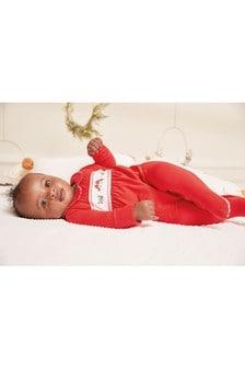 Red GOTS Organic Smart Robin Sleepsuit (0-2yrs)