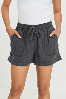 Charcoal Linen Blend Shorts
