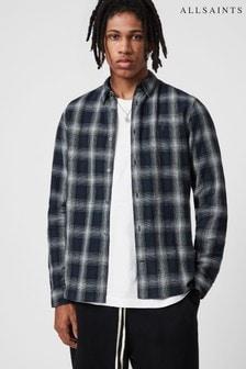 AllSaints Blue Denby Check Long Sleeve Shirt