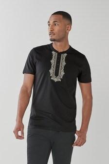 Black Embroidered Jersey Kurta