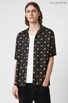 AllSaints Black Rose Check Short Sleeve Shirt