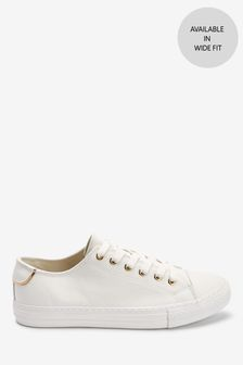 White Baseball Lace-Up Trainers