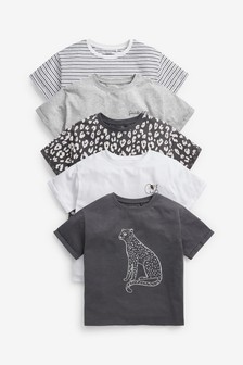 Black/Grey 5 Pack Leopard Short Sleeve T-Shirts (3-16yrs)