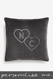Personalised Grey Velour Cushion