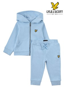 Lyle & Scott Blue Lb Zip Hoody And Sweat Jogger Set