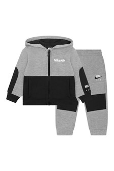 Baby Boys Grey Cotton Air Tracksuit