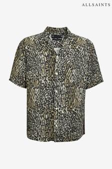 AllSaints Animal Taupe Print Short Sleeve Shirt