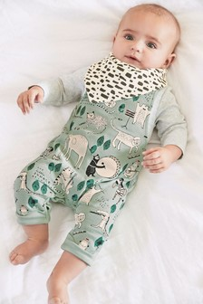 Green Jersey Character Dungarees, Bodysuit And Bib Set (0mths-2yrs)