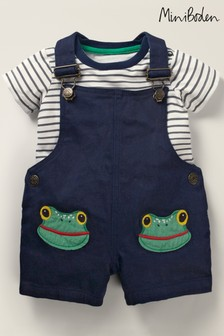 Boden Green Animal Patch Dungaree Set