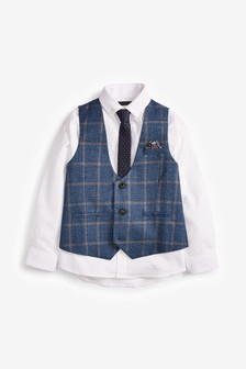 Blue Windowpane Check Waistcoat, Shirt and Tie Set (12mths-16yrs)