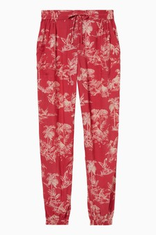FatFace Red Lyme Flamingo Scene Cuffed Trousers