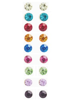 Multicolour Rainbow Stud Earrings Nine Pack