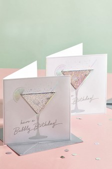 Set of 4 Cocktail Glass Birthday Cards