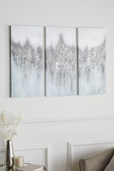 Set of 3 Embellished Abstract Canvases
