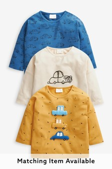 Multi Bright 3 Pack Transport Long Sleeve T-Shirts (0mths-2yrs)