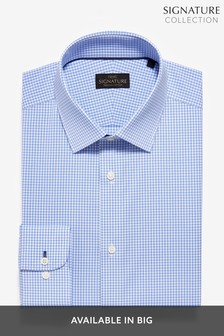 Blue Gingham Check Slim Fit Single Cuff Non-Iron Egyptian Cotton Stretch Signature Shirt