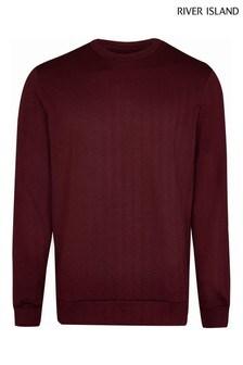 River Island Red Slim Chevron Sweater