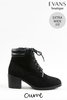 Evans Curve Extra Wide Fit Black Heeled Biker Boots