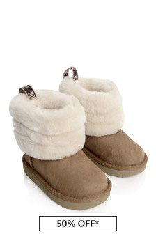 Girls Chestnut Fluff Mini Quilted Boots