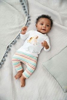 Multi 2 Piece Giraffe Top And Leggings Set (0-12mths)