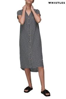 Whistles Blue Stripe Button-Up Dress