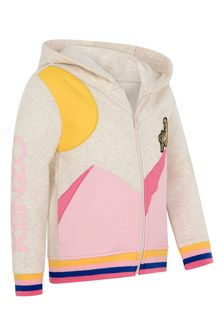 Girls Beige/Pink Tiger Zip Up Top