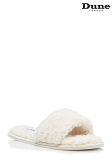 Dune London Cream Snuggled Slider Slippers